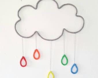 Rainbow Nursery, Rainbow Nursery Decor, Cloud Wall Decor, Rainbow Nursery Art, Cloud Wall Hanging, Wire Wall Art, Weather Nursery
