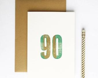 90th Birthday Letterpress Card