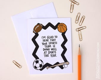 Funny Sports Card, Sports Lover Greeting Card, Athlete Card, Sarcastic Card, Unique greeting, A2 greeting card