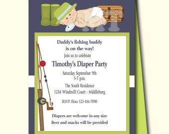 Dad Baby Shower Invitations, Diaper Party Baby Shower Invite, Fishing  Buddie Man Shower