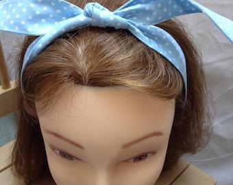 Rosie the riveter retro vintage style handmade hair wrap hair tie, bandana style, baby blue polka dot fifties, forties rockabilly hair wrap
