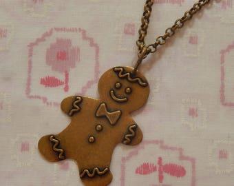 Antique Brass Ginger Bread Man Pendant Necklace