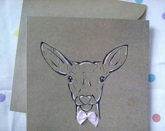 Deer card - greetings card - deer - handmade card - birthday card