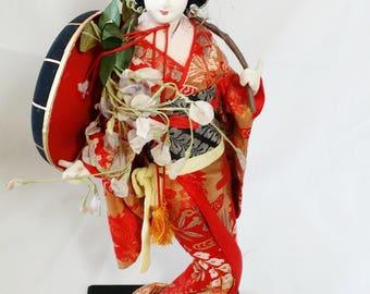 Japan ~ Japanese Geisha 1960's Stockinette Doll 16 Inch ~ Fujimusume ~ Kabuki Actress ~ Asian Oriental Stockinette Doll
