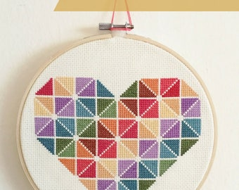 Heart Cross Stitch Pattern Instant PDF Download, Geometric Beginner Cross Stitch, Colorful Cross Stitch, Easy Cross Stitch Pattern