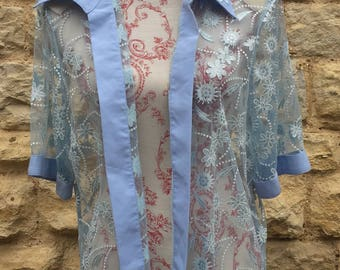 Sheer vintage baby blue blouse