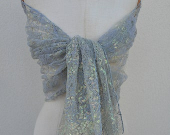 Shawl grey lace, shawl lace printed felt, lace woman, elegant shawl stole bridal gray shawl, evening, green bridal stole