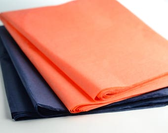 Tissue Paper, Navy and Coral, Party Decoration, Gift Packaging, Wedding, Engagement Party, Birthday, 48 sheets NEW