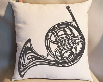 French Horn Pillow Home Decor Decorative Pillows Music Decor Music Gift Music Room Decor Music Teacher Gift Shabby Chic Brass  Rustic