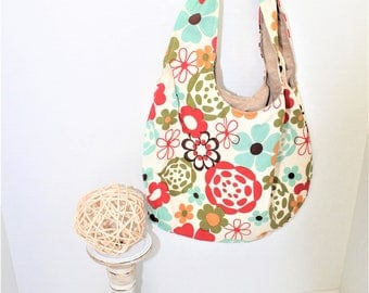 Reversible Red and Teal Floral Purse