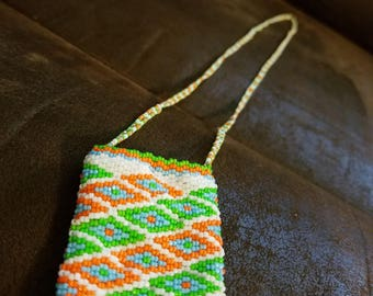 Diamond Amulet Bag- White, orange, green, blue- 2 drop peyote