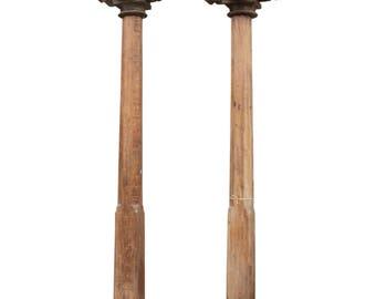 50% Off - Set Of 2 19th Century Indian Columns, Indian Column, Architectural Element, Structural Column, Carved Tolumn, Indian Architecture