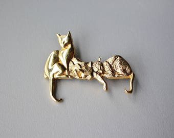 90s Retro Gold Tone Costume Jewelry CAT KITTY Brooch Pin, CATS Grooming