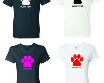 Dog Paw T-shirt with custom text(optional)