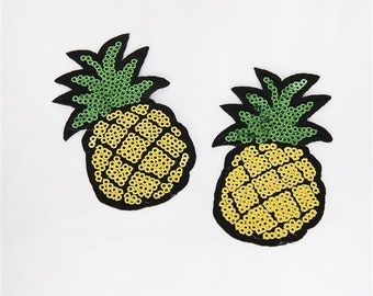 1 Piece -  Pineapple Embroidery Patch with Sequins iron on with glue - Approx. 2.5 inches for Hair bow Center