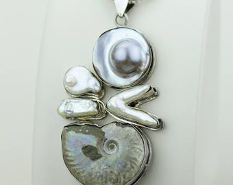 Pure Silver Work of Art! Galcier Ammonite Fossil 925 S0LID Sterling Silver Pendant + 4MM Snake Chain & Worldwide Shipping Mp458