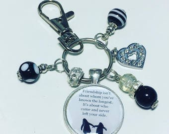 "Penguin friend keyring, penguin friend keychain, penguin friendship keyring, ""Friendship isn't about whom you've known the longest"""