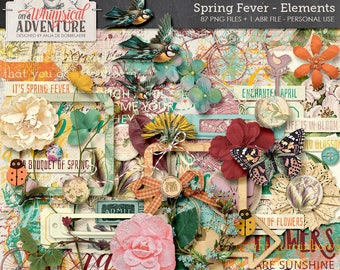 Colorful Spring Themed Clip Art, Digital Scrapbooking Embellishments, Instant Download, Flowers, Foliage, Birds, Stamps, Word Art, Transfers
