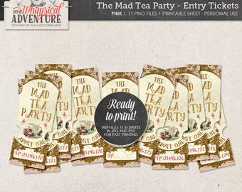 Mad Tea Party Ticket Invitation, Wonderland Printable Entry Tickets, Instant Download, Digital Collage Sheet, Gold and Pink Raffle Tickets