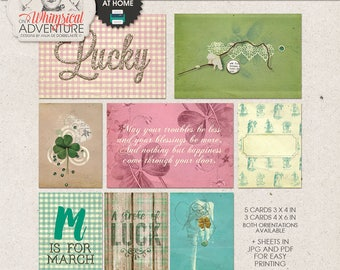 Pocket Cards Printing, Project Life Journal Cards, 3x4, 4x6, St Patty, St Patrick's Day Paper Crafts, Digital Collage Sheet, Lucky Clover