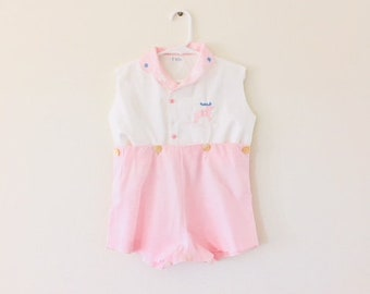 Vintage 1960's White and Pink Cotton Baby Girl Outfit / Size 2T-3T Dear Print Sleeveless Summer Jumper Romper Two Piece Set