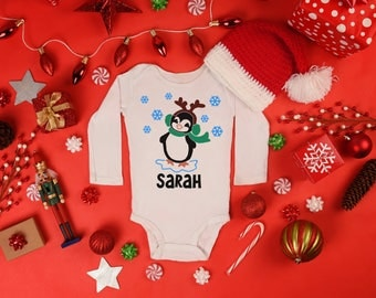 Personalized Name Christmas Penguin with Scarf Antlers Long Sleeve Newborn Baby Toddler Bodysuit Holiday Shower Winter Season Cute Cuddly