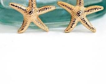 Gold Starfish Earrings | Beach Girl Summer Sea Star Earrings | Beach Wedding | Sea Life Earrings | Dancing Starfish Dangle Earrings