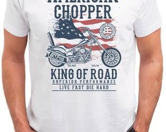 King of Road. American Chopper. Men's white cotton t-shirt