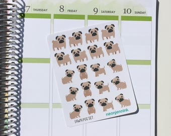 Fawn Pug Sticker Set (Set of 20 Stickers)