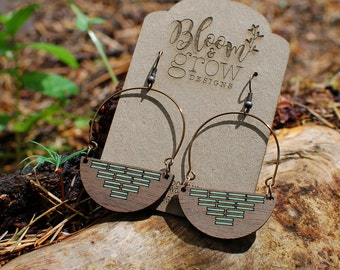 Wooden Earrings - Lines for Days