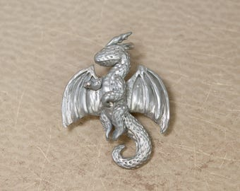 Silver Dragon Pin, Dragon Brooch, Dragon Pinback Button, Geeky Brooch, Role Playing Game, Dragon Accessory, Unique Pinback Button, Jewelry