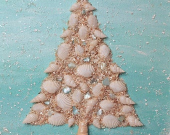 coastal christmas tree coastal decor coastal christmas decor shell tree coastal wall art beach christmas tree - Beach Themed Christmas Trees