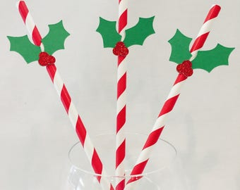 12 Christmas Straws - Holly - Red Glitter - Christmas - Rudolph - Stripes - Christmas Party - Swizzle Sticks - Green - Red - Holiday