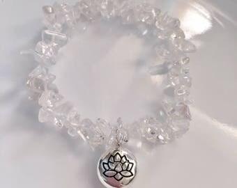 Clear Quartz Chip Lotus Bracelet