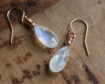 Moonstone Earrings in Silver, Gold or Rose Gold, Moonstone Drop Earrings, Rainbow Moonstone Jewellery, June Birthstone, Moonstone Jewellery