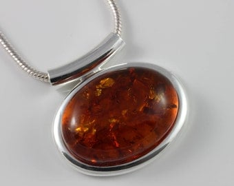 Natural Amber cabochon pendant