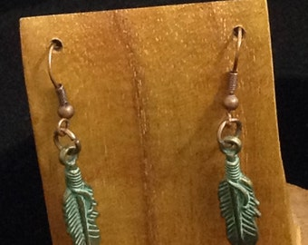 Distressed Copper, Earring Wires, Feathers -  SMALL FEATHERS