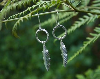 Thai Hill tribe Silver Leaf + Circle Earrings