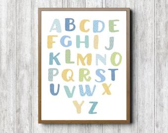 Charming Boy Nursery Printable Alphabet Wall Art   Alphabet Chart Wall Decor    Letters Poster   Classroom Part 10