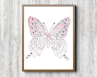 Watercolor Butterfly Printable Nursery Wall Art - Pale Pink Girls Room Decor - Office / Bathroom Poster - Blush Pink Print -Instant Download