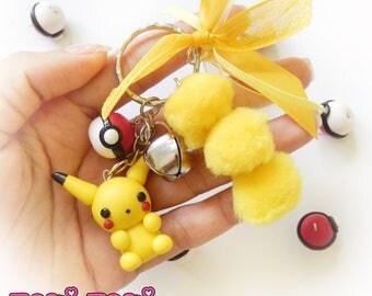 Cute Chibi Keychain, Polymer Clay Keychain, PomPoms Keychain, Cute Kawaii Charm, Cute Gamer Keychain, Kawaii Keychain, Videogame Charms