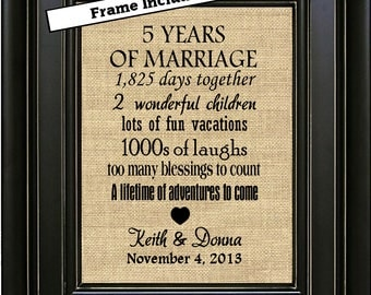 FRAMED Personalized 5th Anniversary Gift/5th Anniversary Gift for couple/5th Anniversary Gift for him/Gift for husband/Wood Anniversary