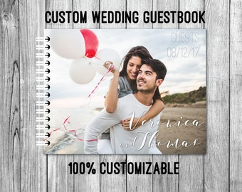Custom Wedding Guest Book with your Photo - Wire Bound - Also great for engagement parties, bridal showers or anniversary celebrations!