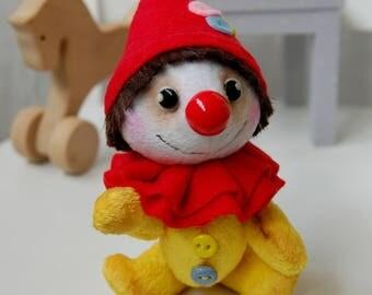 "Plush Clown, 5.9"",15 cm, little toy, small clown, soft toy, doll , handmade, miniature plush toy, pocket toy, Plush little man, gift for kid"