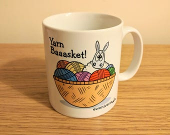 Yarn Baaasket! mug, Sheep mug, Knitters gift, Crochet gift, Yarn gift, cup for her, coffee drinker gift, punny gifts, Knitting mug, Fun cup