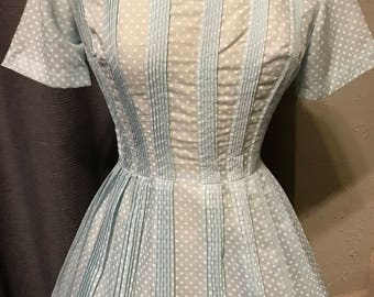 1950s L'AIGLON Dress - Baby Blue With White Polka Dots And Knife Pleats - Small