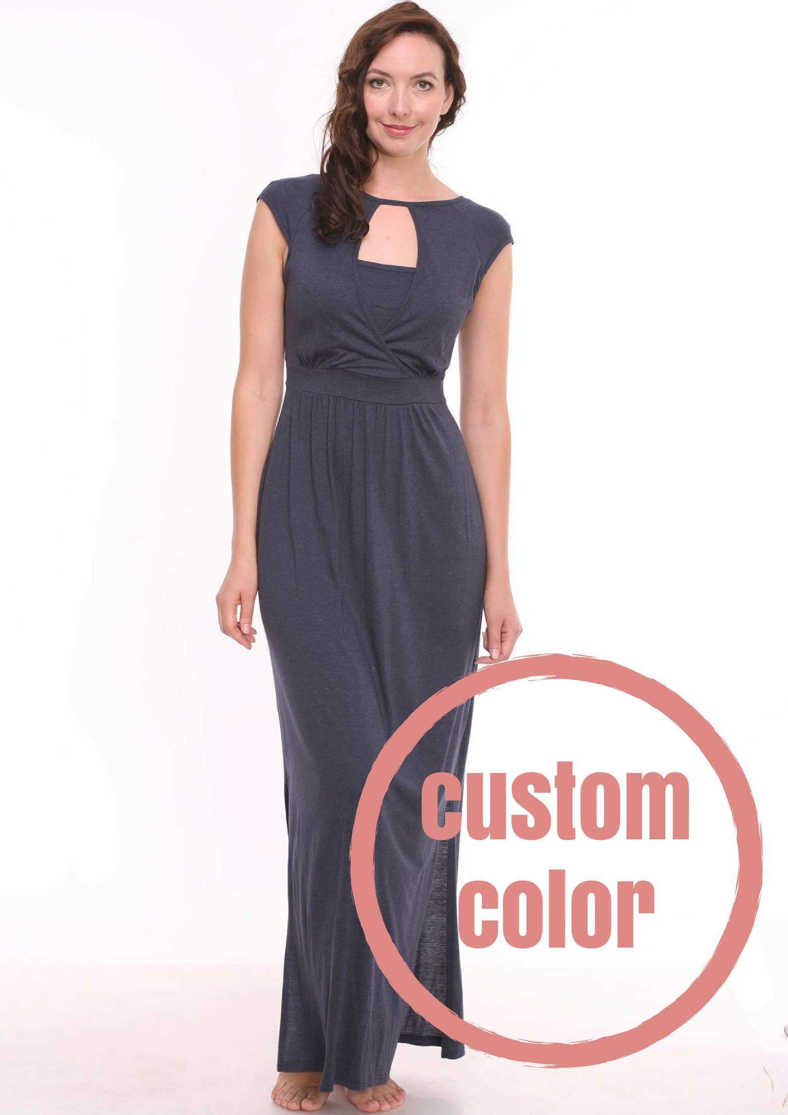 Custom color breastfeeding dress nursing dress navy zoom ombrellifo Gallery
