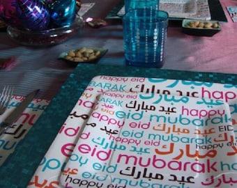 Happy Eid Font Dessert Plates / Islamic Party / Muslim Celebrations Best Gift