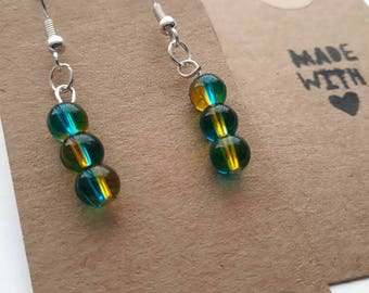 Light blue and yellow dual colour glass bead earrings (3bead)