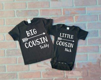 Personalized Big Cousin/ Little Cousin Shirt / Onesie set